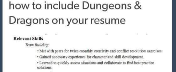 dungeons and dragons can create job training skills