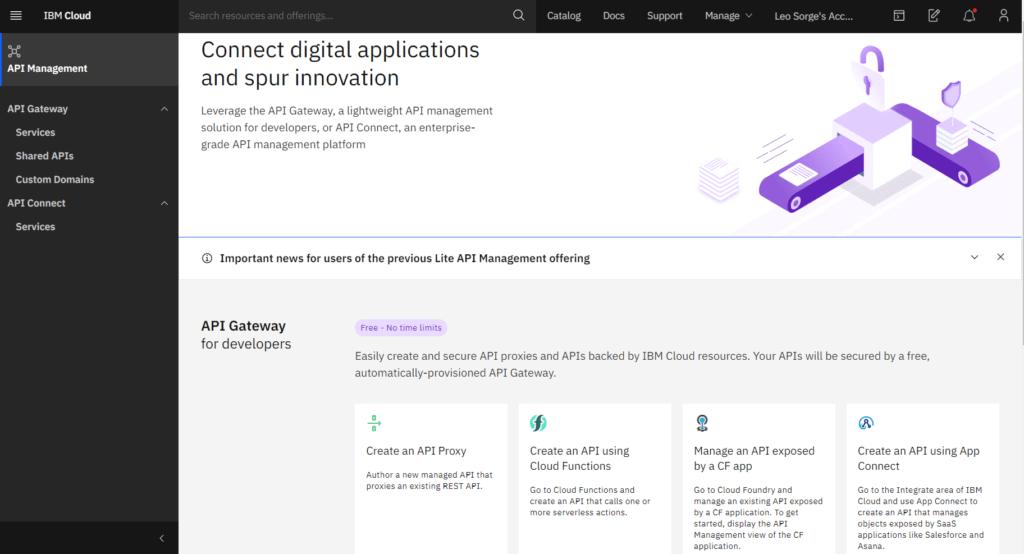 API Connect dashboard
