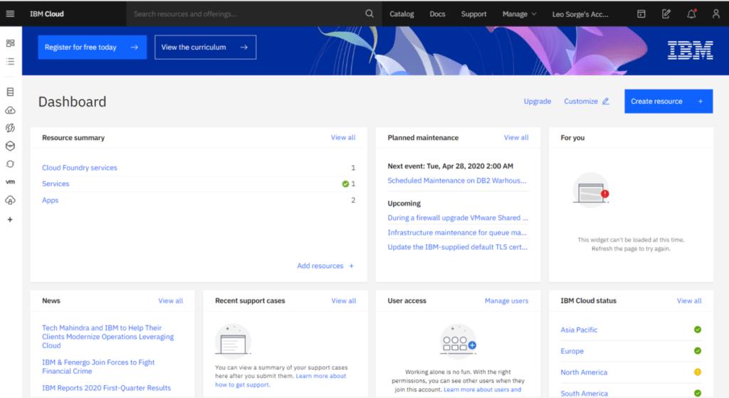 IBM Cloud dashboard