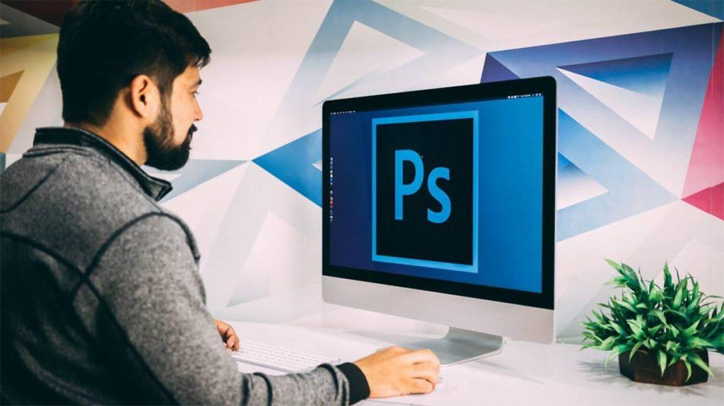 web designer using photoshop